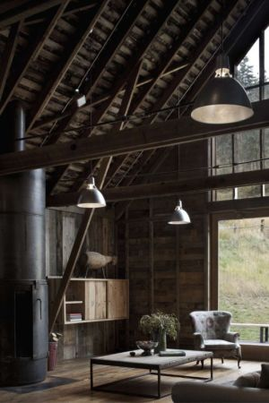 Salon & Cheminée - Rural-Barn Par MW Works - Leavenworth, USA