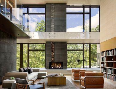 Salon & Cheminée - Super-Villa Par Wolf Architects - Los Angeles, USA