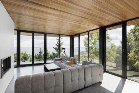 Salon & Grande Baie Vitrée - V-Shaped-Residence Par Bourgeois Lechasseur - Charlevoix, Canada