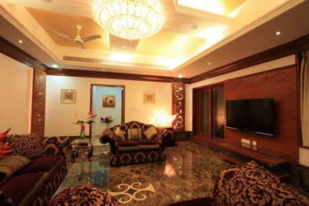Salon Principale & écran TV - Royal-Splendour-House Par Ansari And Associates - Ayyampet, Inde
