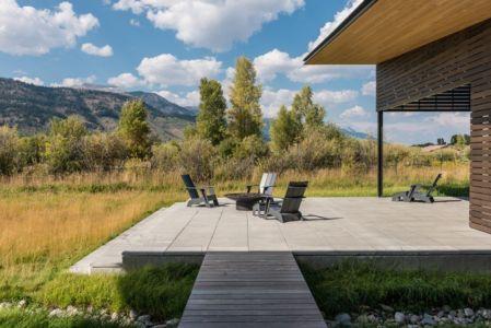 terrasse et panorama - Maison Contemporaine Bois par Carney Logan Burke Architects - Wilson, Usa