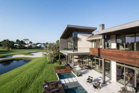 Vue Panoramique Façade Jardin & Terrasse - Ballantrae Court Par Kz Architecture - Floride, USA