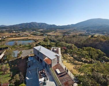 Vue Panoramique Toiture & Salon Terrasse Design - Y-House Par ON Architecture - Ulsan, Coree Du Sud
