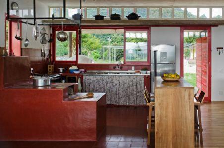 îlot central de cuisine - Dom-Vicoso-House par Brasil Arquitetura - Dom Viçoso, Bresil