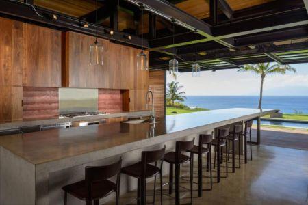 îlot central de cuisine - Kapalua-Home par Olson Kundig Kaprzycki Designs - Hawaï, USA