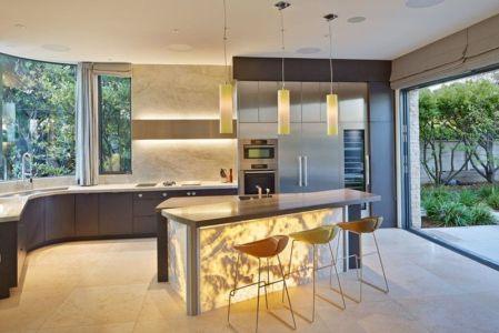 îlot central de cuisine - maison exclusive par Polsky Perlstein Architectes - San Francisco, USA