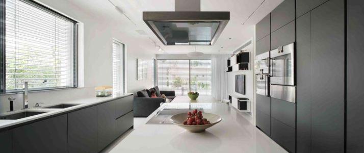 îlot central de cuisine & salon - Aluminum-Home par Studio-de-Lange - Kfar-Shmaryahu, Israël