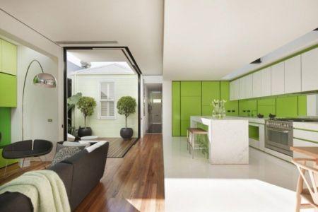 cuisine & salon - white cube par Matt Gibson Architecture - Melbourne, Australie
