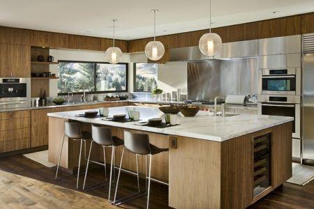 lot cuisine - maison bois et pierre contemporaine - Sun Valley, Usa