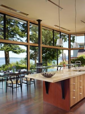 îlot de Cuisine & Baie Vitrée - port-ludlow-house par Finne - Washington, USA