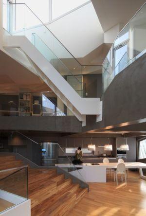 îlot de cuisine & escaliers étage - Kyeong Dok Jai par Uroje Khm Architects - Corée du Sud