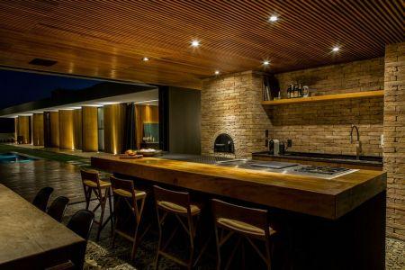 îlot Central De Cuisine & Salle Séjour - MCNY-House Par Mf Arquitetos - Franca, Bresil
