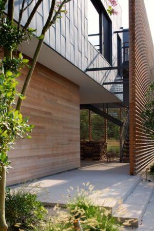 accès entrée par escalier - Shore House par Stelle Lomont Rouhani Architects -  Amagansett, Usa