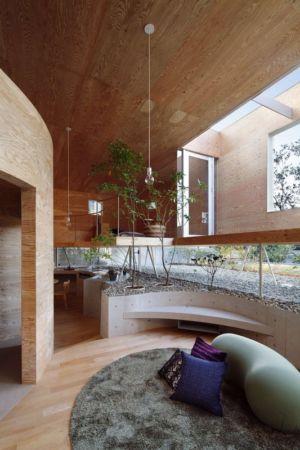 aire de repos intérieur - pit-house par UID Architects - Okayama, Japon