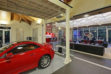 ascenceur et vue sur salon - West Bellevue House - Washington, USA