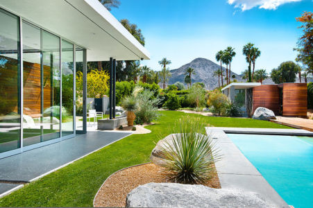 baie coulissante et jardin - F-5 Residence par Studio AR+D Architects - Indian Wells, Usa