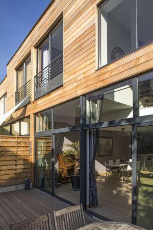 baie vitrée terrasse - Maisons jumelées par MAG architectes - France - photo Stéphano Candito