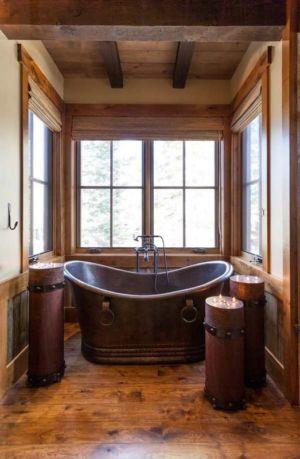 baignoire en cuivre - chalet de luxe par Walton Architecture - Martis Camp, Usa