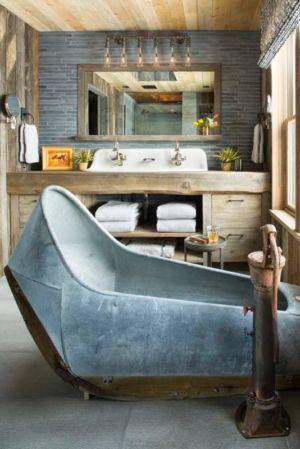 baignoire recyclée - Rocky Mountain retraite par Beck Building Company - Aspen Springs, Usa