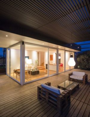 balcon terrasse bois - GB-House par EMA Arquitectos - Concón, Chili