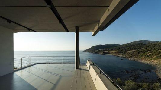 balcon & vue panoramique paysage - résidence exclusive par Z-Level - île Kios, Grèce