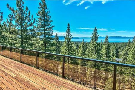 balcon & vue panoramique sur lac - lake-view-cabin - Nevada, USA