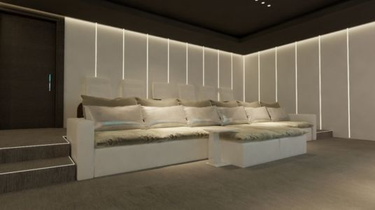 banquette home cinema - luxueuse villa par Ark Architects - San Roque, Espagne