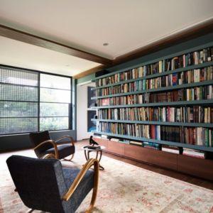 bibliothèque - Waterfront House par Luigi Rosselli Architects - Sydney, Australie