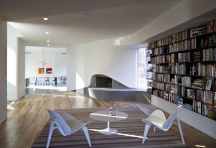 bibliothèque & cheminée - DR_RESIDENCE par SU1 Architects + Design - Connecticut, USA
