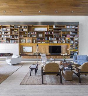bibliothèque salon - Tetris House par Studio mk27 - São Paulo, Brésil