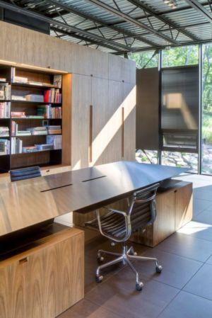 bureau & bibliothèque - Shokan-House par Jay Bargmann - New York, USA