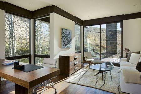 bureau - maison bois et pierre contemporaine - Sun Valley, Usa