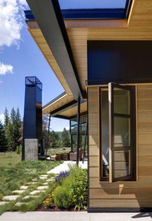 côté terrasse - River Bank house par Balance Associates Architects - Big Sky, Montana, Usa