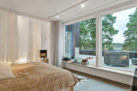 chambre 2 - maison bois contemporaine par Gabriel Minguez - Ingarö, Suède
