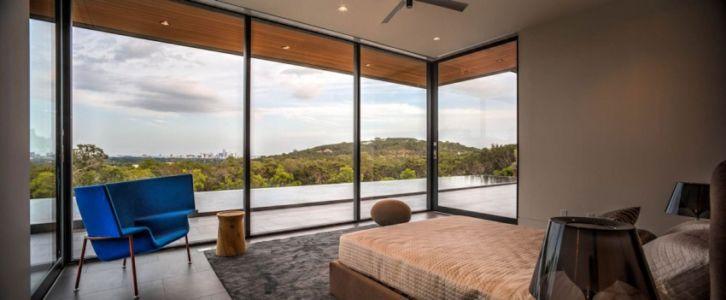 chambre - Waterfall-House par Dick Clark + Associates. - Austin, Usa
