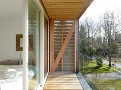 chambre & balcon bois - Single-family-house par Christian von Düring architecte, Suisse