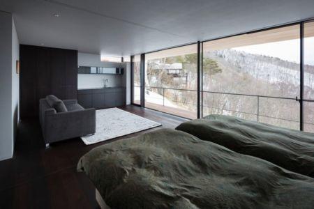 chambre & canapé - maison bois contemporaine par kidosaki-architects - Yutsugatake, Japon
