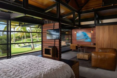 chambre & coin TV - Kapalua-Home par Olson Kundig Kaprzycki Designs - Hawaï, USA