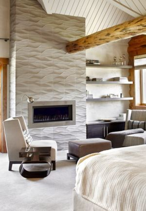 chambre et cheminée - chalet contemporain Thunderhead, Colorado, Usa