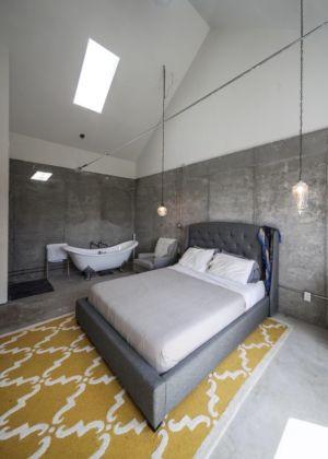 chambre et mini salle de bains - MadHouse par Lion Architecture - Kansas City, USA
