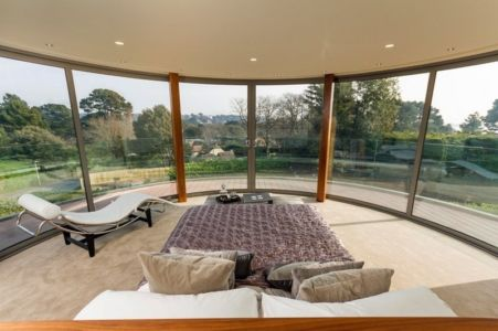 chambre et vie panoramique - Ventura House par David James Architectes - Dorset, Royaume-Uni