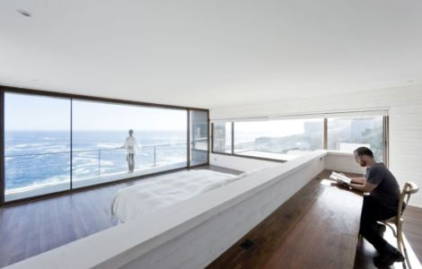 chambre et vue panoramique - Catch the Views House par LAND Arquitectos - Zapallar, Chili