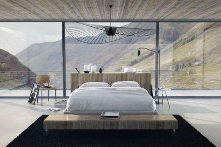 chambre & grande baie vitrée - Roost House par Benoit Challand - Ecosse
