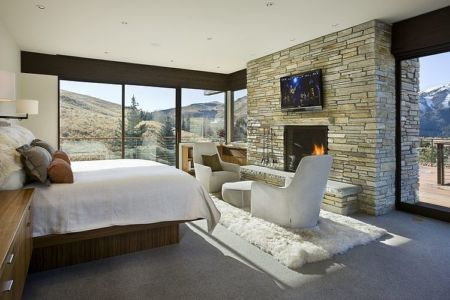 chambre - maison bois et pierre contemporaine - Sun Valley, Usa