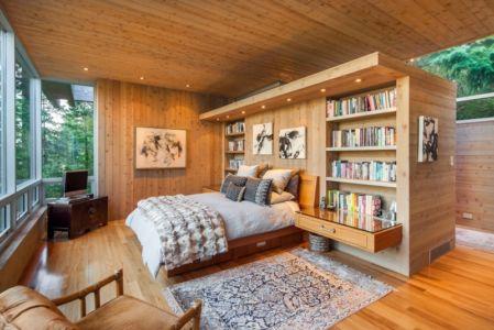 chambre moderne toute en bois - villa contemporaine en bois par Daniel Evan White - Saanich, Canada