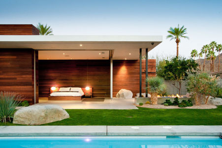 chambre parentale ouverte sur extérieure - F-5 Residence par Studio AR+D Architects - Indian Wells, Usa