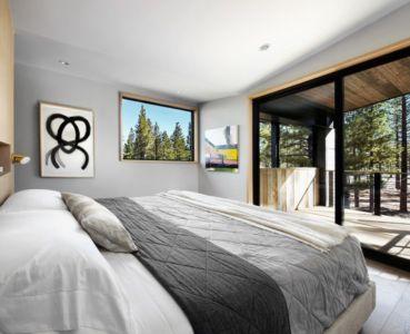 chambre principale & baie vitrée - butterfly-house par Sagemodern - Californie, USA