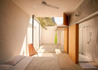chambre & salle de bains - Casa-Meztitla par EDAA - Tepoztlan, Mexique