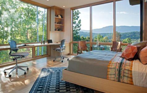 chambre vue panoramique - Piedmont Residence par Carlton Architecture - Asheville, Usa