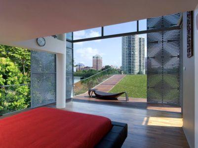 chambre & vue panoramique immeuble extérieur - Home-Walls par Mink Architects - Singapour